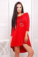 Платье короткое шлейф красное