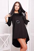 Платье короткое шлейф черное