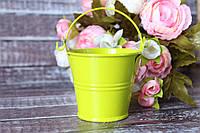 Ведерко декоративное 6 см салатового цвета