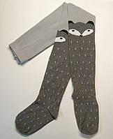 Колготки серого цвета с лисичкой для девочек с имитацией чулков