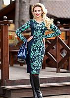 Темно-синее трикотажное платье с красивым рисунком, 3 расцветки (р-ры L-3ХL)