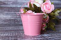 Ведерко декоративное 7см розового цвета