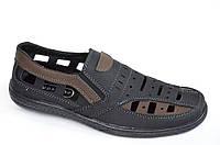 Туфли летние сандали босоножки мужские черные с коричневой вставкой черные модель 2016, фото 1