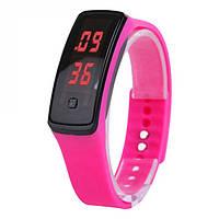 LED наручные спортивные часы, силиконовый ремешок, металлическая застёжка  Розовый