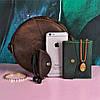 """Романтична кругла шкіряна сумка """"Бон-Бон"""" кольору горіх, фото 4"""