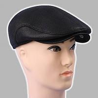 Мужская кепка чёрная из натур кожи утеплённая мехом 57-58