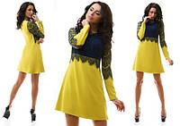 Платье с красивым гипюром в расцветках