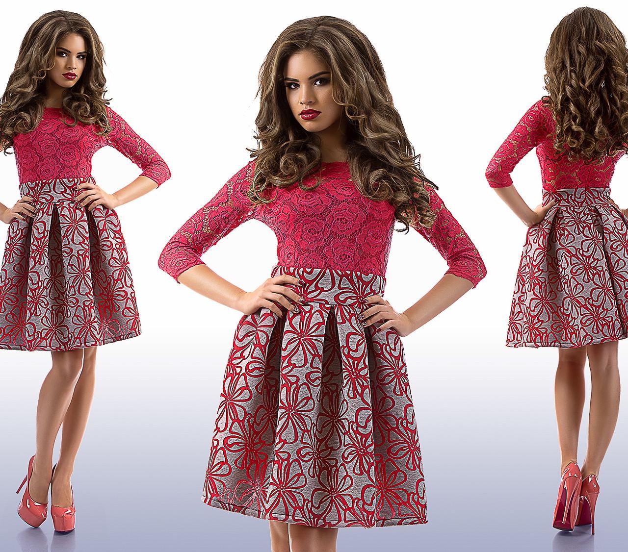 1a8ae14e708 Платье верх гипюр, низ принтованный неопрен (2 расцветки)