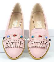 Класические женские балетки розового цвета