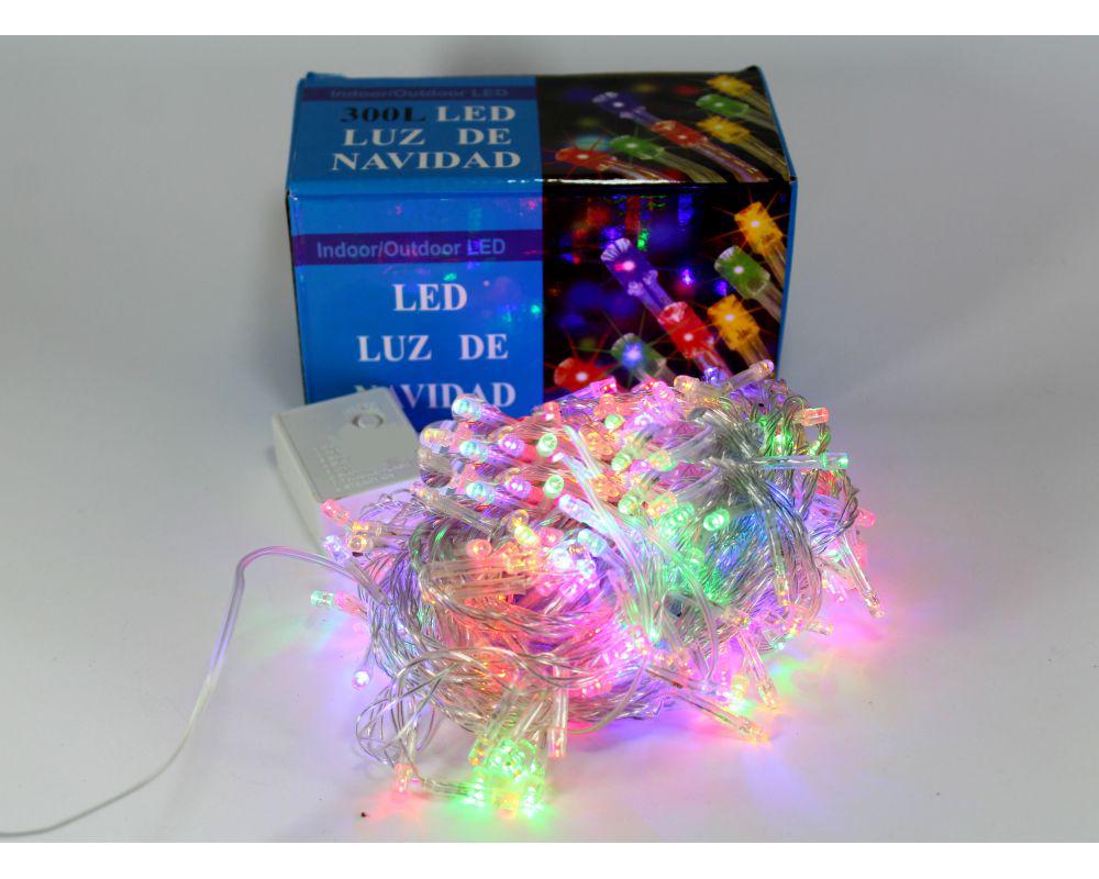 Гирлянда разноцветная новогодняя Xmas LED 300 M-1 прозрачный провод яркое свечение