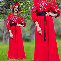 Вышитое платье красное с длинным рукавом
