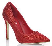 Комфортные летние туфли на устойчивом каблуке, красного цвета размеры 36-39,41