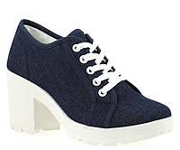 Женские полуботинки на шнурках и толстом каблуке