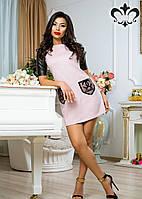 Женское платье из замши, рукава из экокожи, а накладные карманы ― из органзы