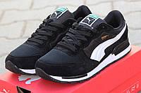 Мужские кроссовкиPuma RX727, замшевые, черно белые  / беговые кроссовки Пума мужские, модные