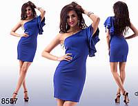 Элегантное короткое платье с коротким рукавом на одно плечо (3 цвета)