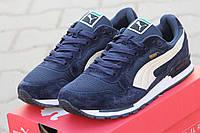 Мужские кроссовкиPuma RX727, замшевые, синие с белым / бег кроссовки Пума мужские, стильные
