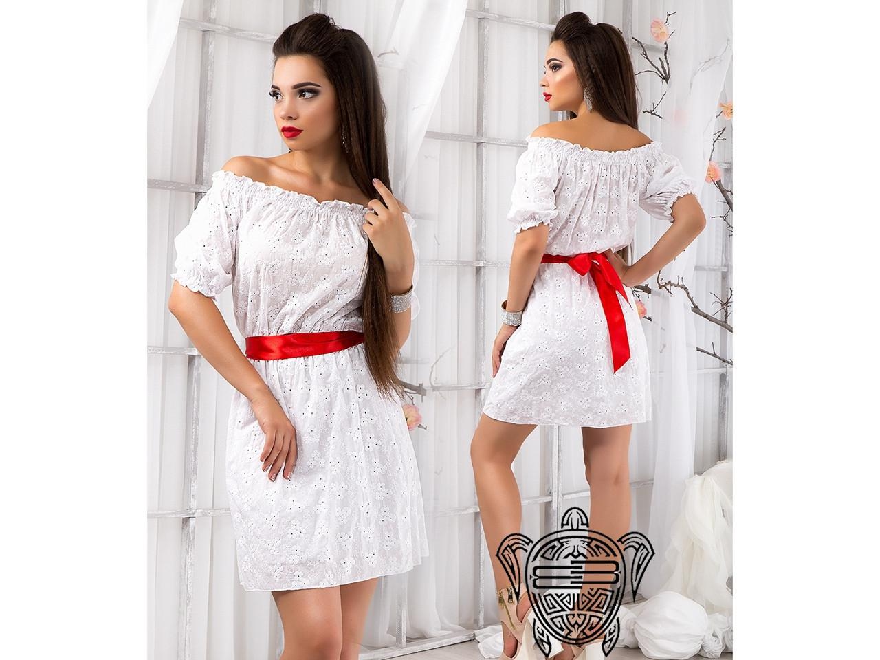 61ebe0ee11e Платье прошва белое с красным поясом
