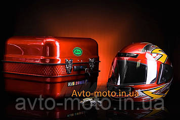 Кофр багажник красный железный с шлемом
