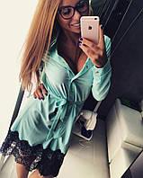 Платье-рубашка на пуговицах декорированное широким французским кружевом (3 цвета
