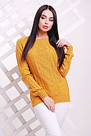 Женский тоненький свитер-реглан, горчица