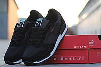 Мужские кроссовкиPuma RX727, замшевые, черные / кроссовки мужские Пума, стильные, удобные