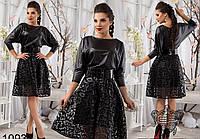 Нарядное черное платье из экокожи с органзой