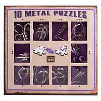 Фиолетовый набор  миниатюрных головоломок 10 Metal Puzzle Violet