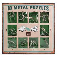 Зеленый набор миниатюрных головоломок 10 Metal Puzzle Green