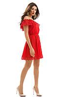 Льняное летнее Платье Камелия красное