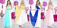 Платье в пол женское нарядно,двухцветное ,много цветов