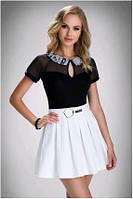 Блузка, кофточка женская черная с коротким рукавом Eldar ANASTAZJA 2017 офисная деловая одежда