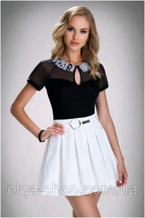 Блузка, кофточка женская черная с коротким рукавом Eldar ANASTAZJA 2017  офисная деловая одежда b959b6433aa