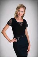 Блузка, кофточка женская черная с коротким рукавом Eldar DOMINICA 2017 офисная деловая одежда