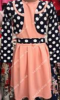 Однотонное детское платье с болеро в горошек 01216