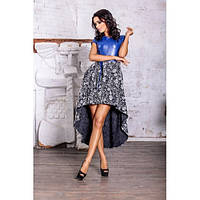 Нарядное асимметричное из платье экокожи + французский трикотаж (разные цвета)