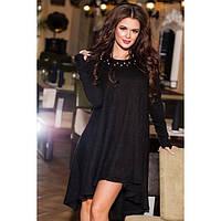 Ангоровое асимметричное черное платье свободного кроя