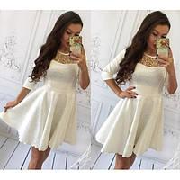 Нарядное пышное платье из гобелена с вышивкой (разные цвета)