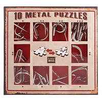 Красный набор  миниатюрных головоломок 10 Metal Puzzle Red