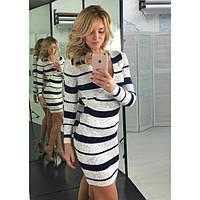 Платье полосатое из тонкой вязки с красивым декольте (4 расцветки)