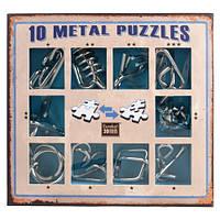 Голубой  набор миниатюрных головоломок 10 Metal Puzzle Blue