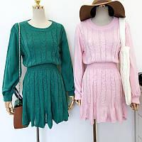 Вязаное платье узор коса (3 расцветки)