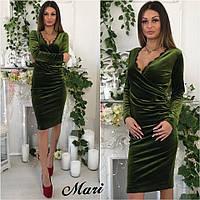 Бархатное платье с кружевом сбоку драпировка (5 цветов)