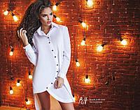 Платье-рубашка асимметрия из натуральной ткани (2 цветов)