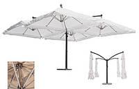 """Большой четырехкупольный усиленный зонт """"Квадро"""" для кафе, летней площадки ресторана 6х6м"""