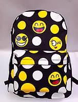 Рюкзак молодежный Смайл черного цвета с внешним и боковыми карманами
