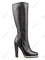 Акция!! Женские демисезонные сапоги из натуральной кожи, устойчивый высокий каблук (39 р-р)