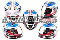 Шлем-интеграл (mod:B-500) (size:XL, бело-красно-синий, зеркальный визор, STORM) BEON