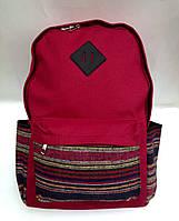 Рюкзак женский Этника красного цвета с внешним и боковыми карманами