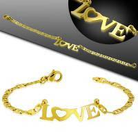 Женский стальной браслет золотого цвета с надписью Love HBO 554